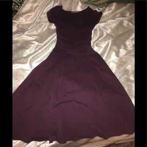 Purple Velvet v neck dress